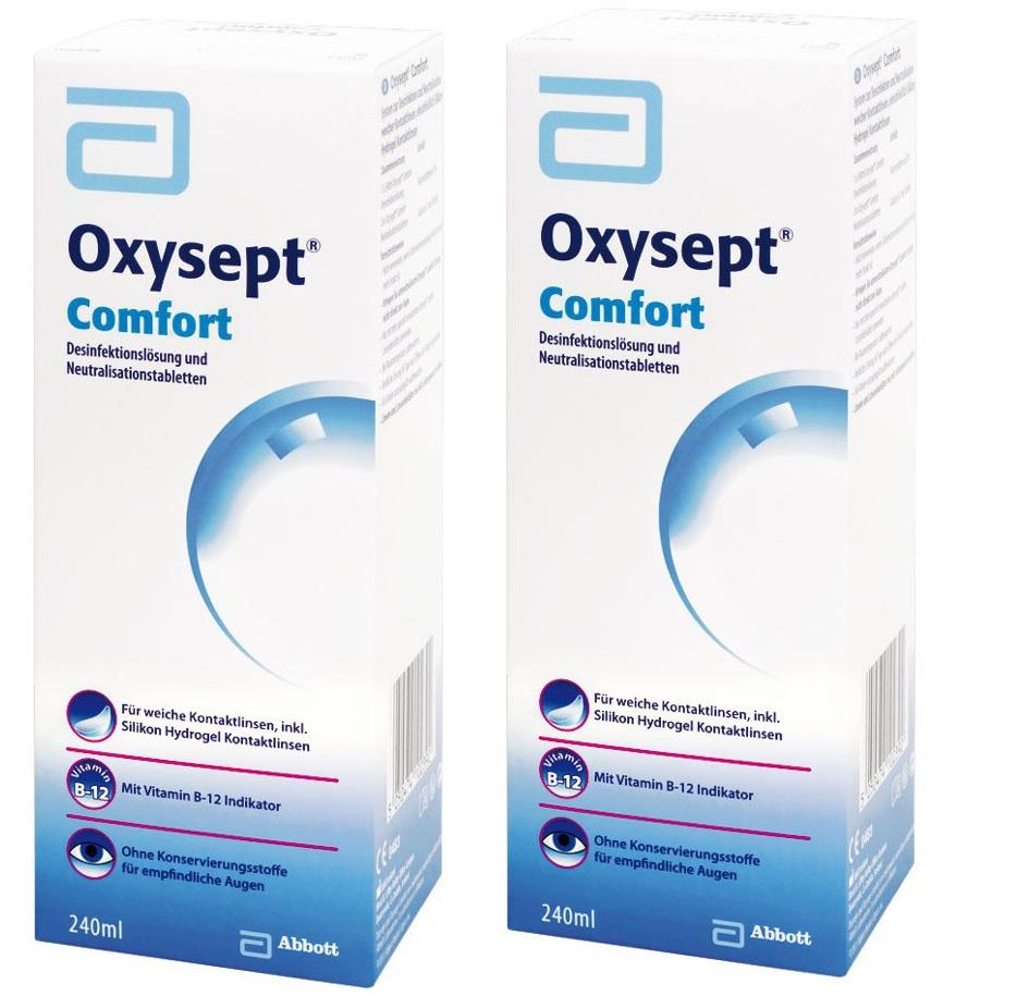 2 x Oxysept Comfort, AMO (2 x 240 ml + 48 Tabl.)