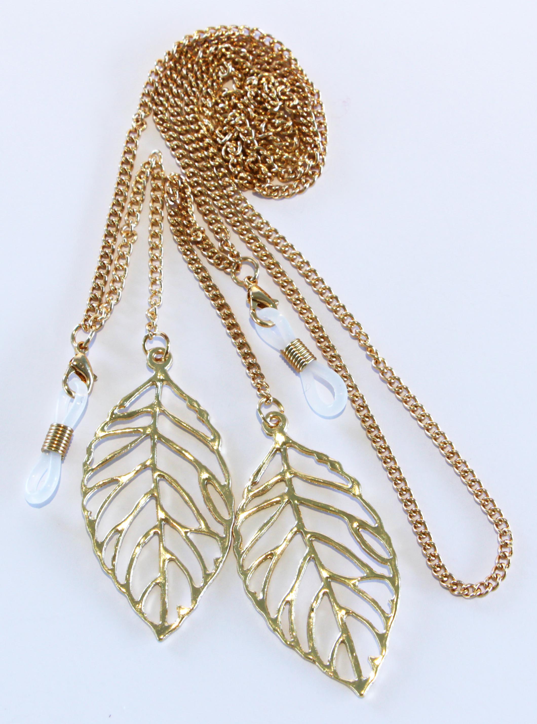 Brillenkette gold mit Blättern