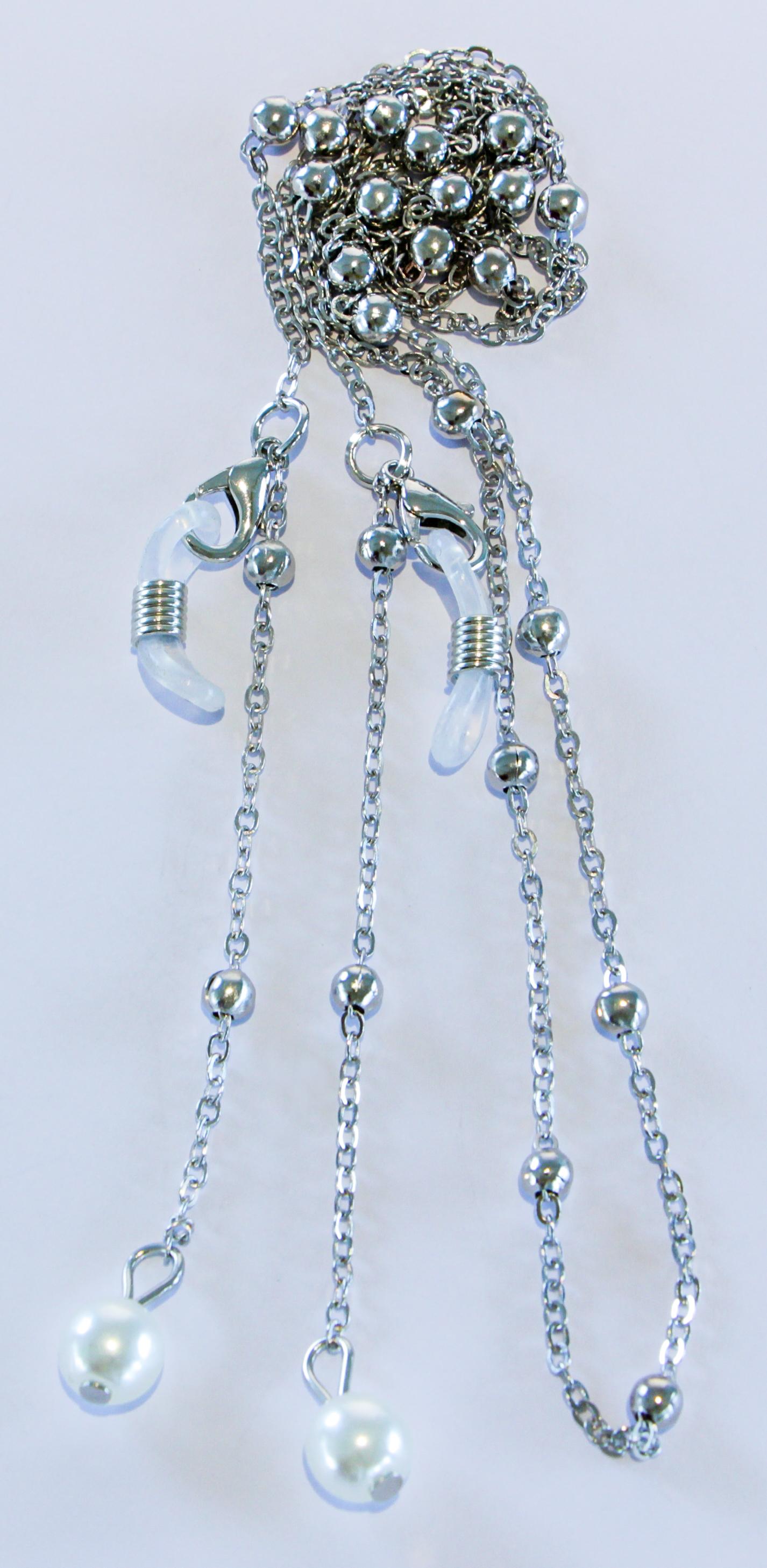 Brillenkette silber mit Perlen