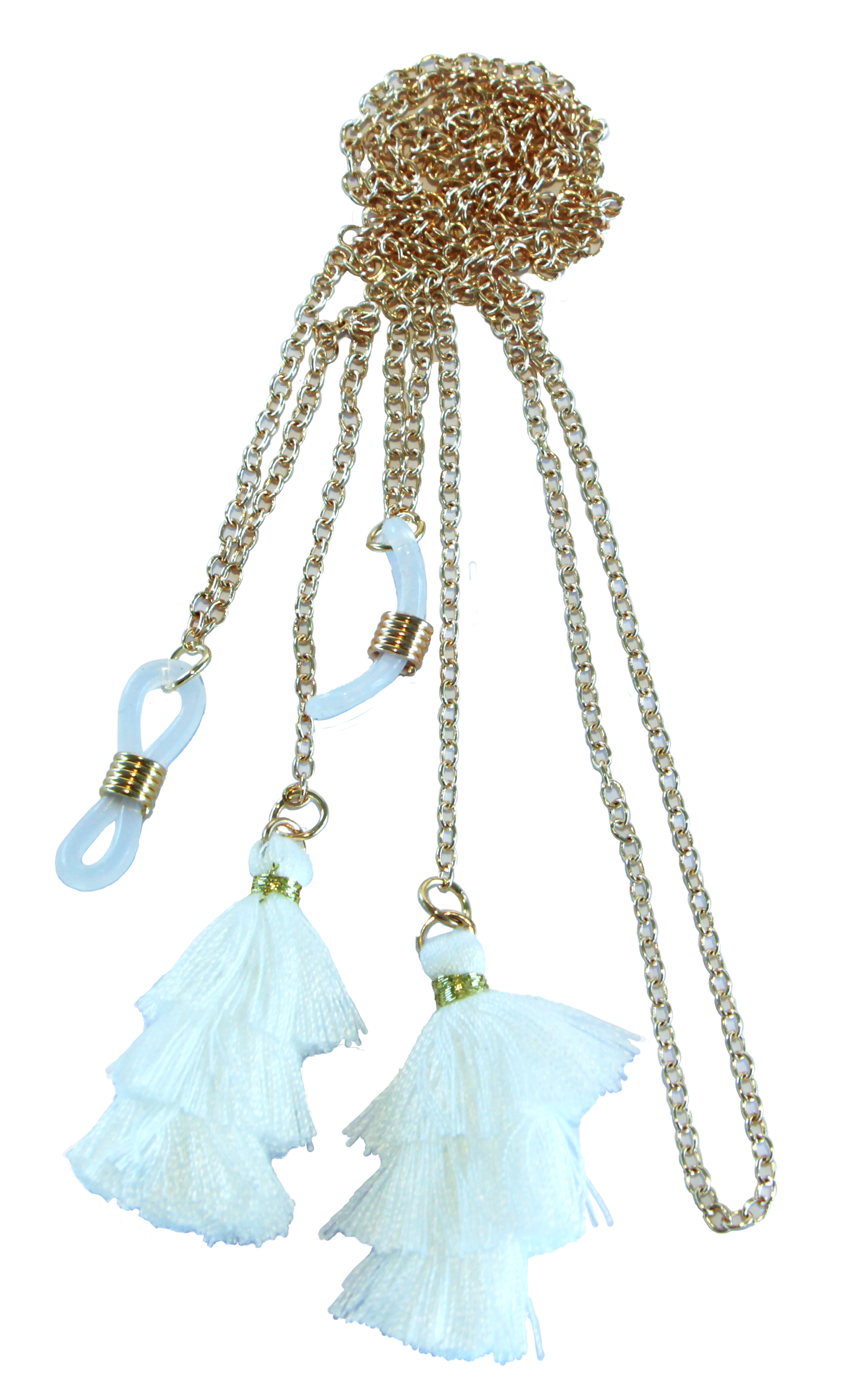 Brillenkette rose gold mit weißen Fäden