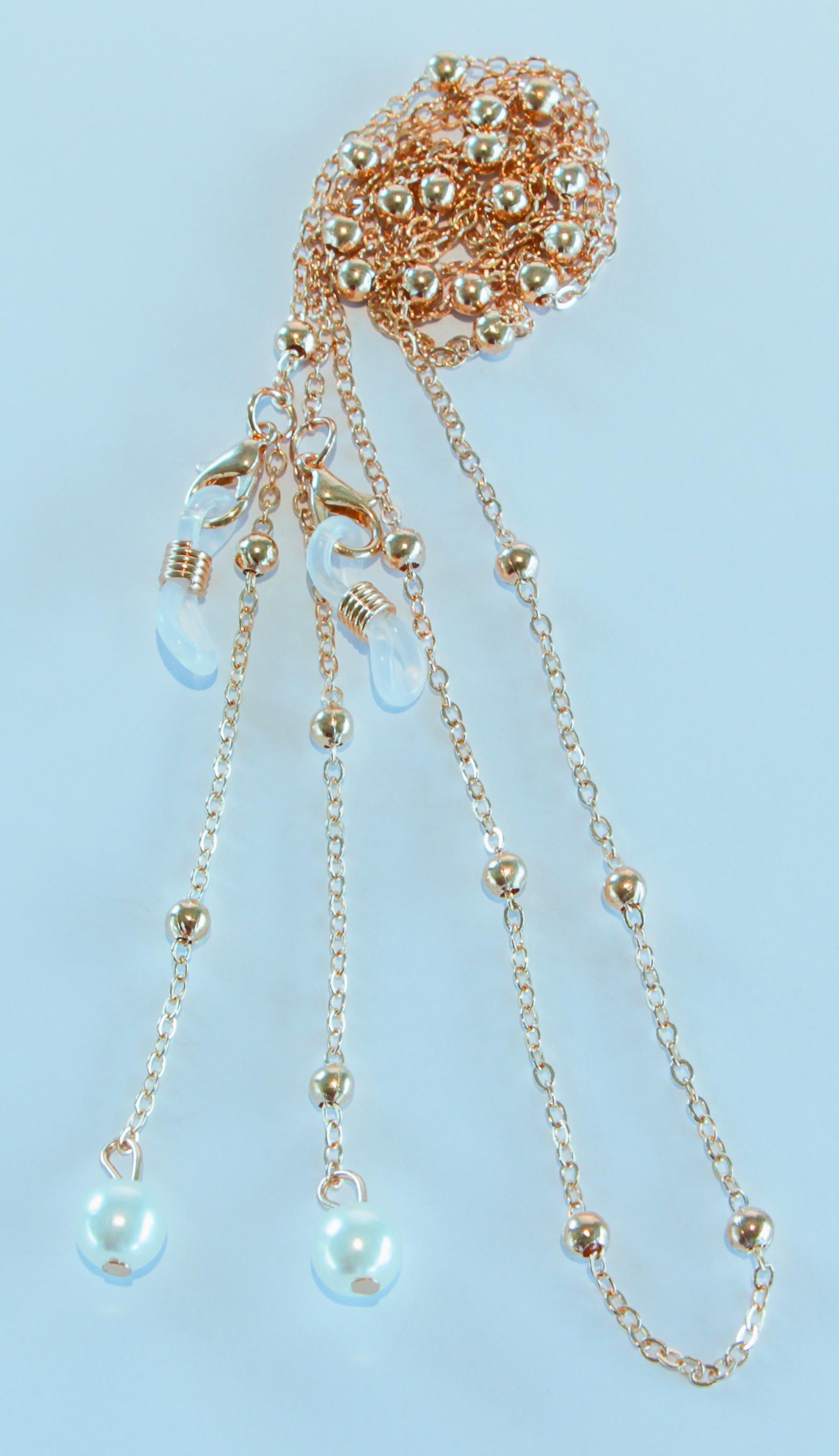 Brillenkette gold mit Perlen